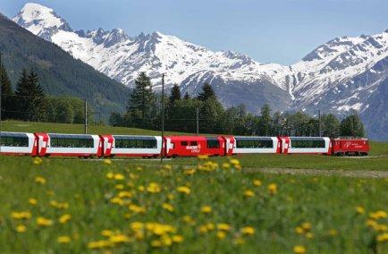 Glacier Express in Goms valley in summer